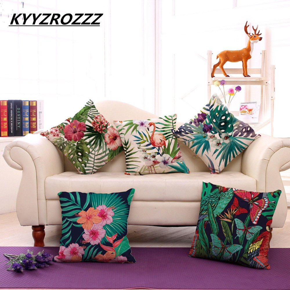 Subtropical style Tropical butterfly plant Flamingos Pillow Cover Cotton Linen Square Decorative Throw Pillow Case Cushion cover