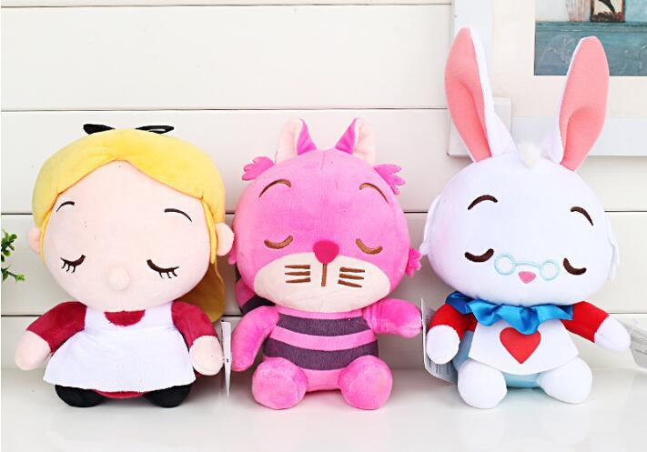 3Styles Alice In Wonderland 2 Alice Cheshire Cat White Rabbit Stuffed Plush Toys Cute Dolls for Kids свитшот print bar rabbit of alice wonderland