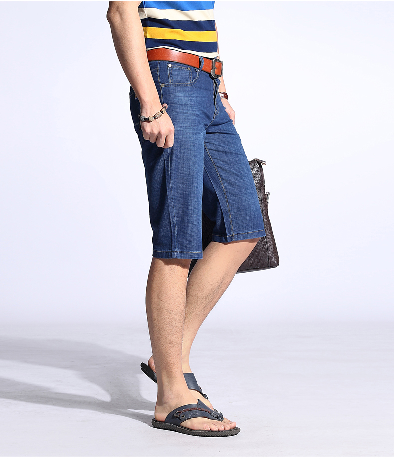 KSTUN Summer Shorts Men Jeans Straight Solid Blue Stretch Thin Regular Fit Business Casual Breathable Soft Material Mens Short Jeans 16