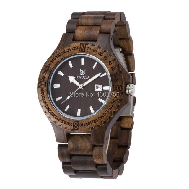 Uwood Moda Madeira Preta Sandália De Madeira Mens Relógio de Luxo Da Marca Relojes Originais Japão MIYOTA Movimento do Relógio de Pulso
