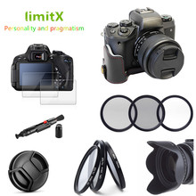 Accessories kit Half Body Leather Case + Filter + Lens Hood Cap + Glass LCD Protector for Canon EOS M50 with 15 45mm lens Camera