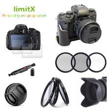 Zestaw akcesoriów skórzany pokrowiec na pół ciała + filtr + osłona obiektywu + szklany ochraniacz LCD do Canon EOS M50 z obiektywem 15 45mm