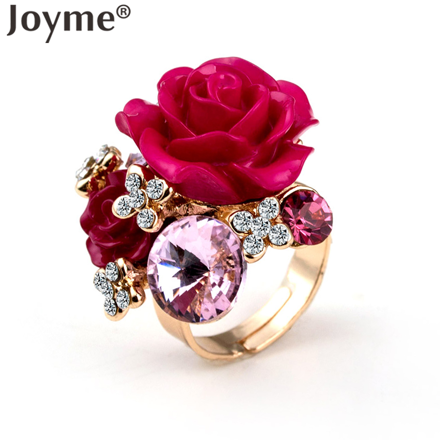 Fashion 2016 Womens Jewelry High Quality Superb Ring Rose Gold-Color Flower Round Austrian Crystals Finger Rings Bijoux Homme