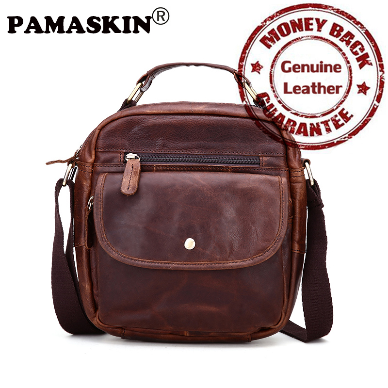 PAMASKIN Luxury 100% Cowhide Leather Men Shoulder Bags Retro Leisure Men Messenger Cross-body Bag 2018 High Quality Guaranteed