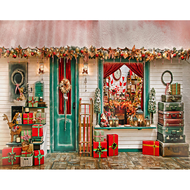Customized Xmas house wallpaper photography backdrops for party photo studio portrait backgrounds props S 2626