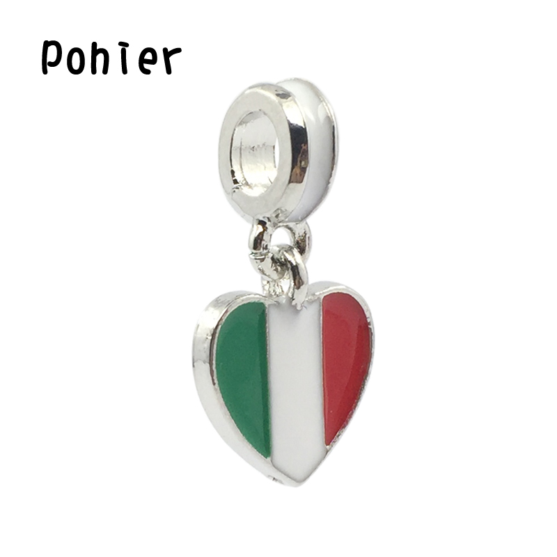italy flag white red green enamel heart pendant charms. Black Bedroom Furniture Sets. Home Design Ideas
