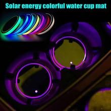 Новый 2 шт. Солнечный светодиодный автомобиля пусковой площадки чашки чехол зарядка через usb авто интерьера фонари кружка бутылку Pad CSL2018