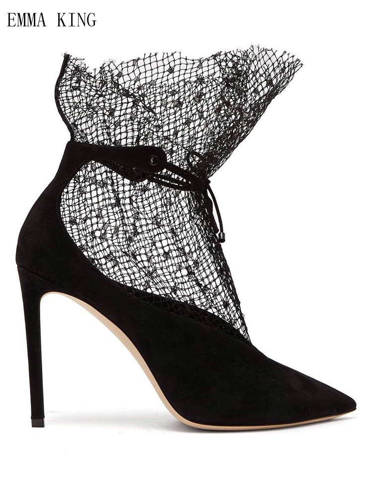 Spring Autumn Women Sexy Black White Lace Lace-Up Ankle Wrap Women Boots Pointed Toe High Heel Model Party Wedding Ladies ShoesSpring Autumn Women Sexy Black White Lace Lace-Up Ankle Wrap Women Boots Pointed Toe High Heel Model Party Wedding Ladies Shoes