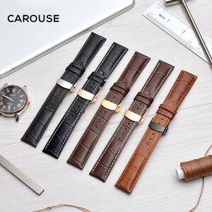 Image 5 - להתהולל רצועת השעון 18mm 19mm 20mm 21mm 22mm 24mm עגל עור להקת שעון פרפר אבזם רצועת צמיד אביזרי Wristbands