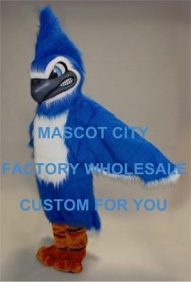 Длинные волосы плюшевые Материал ожесточенные синий Jay Маскоты костюм хорошее качество заказ наряд костюм партии карнавал необычные плать...