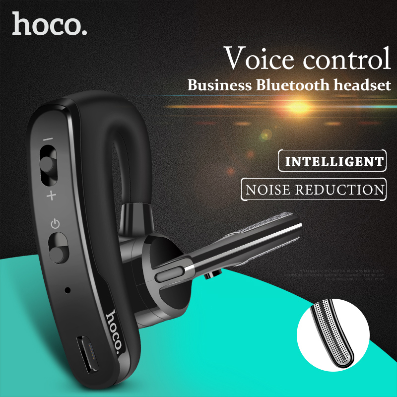 HOCO Business Bluetooth Earphone Noise Cancelling Voice Control Wireless Headphone With Mic Driver Sport  Headset for iPhone 8 qcy q25 bluetooth 4 1 earphone wireless noise cancelling headphone