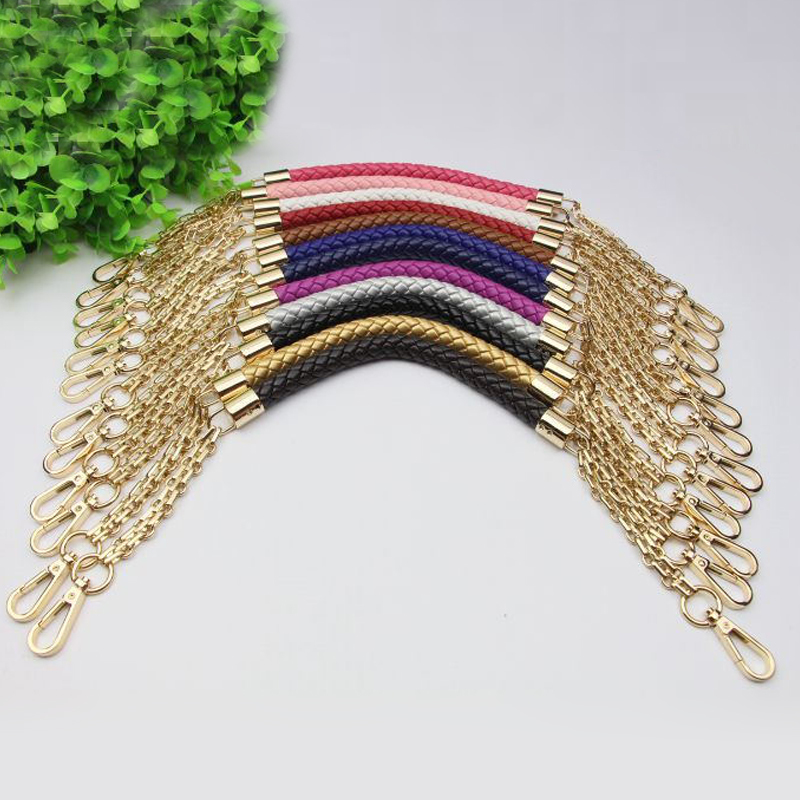 Short 50cm Metal Gold Chain Replacement Straps Colorful PU Leather Purse Handles for Small Handbags DIY Bags Accessories