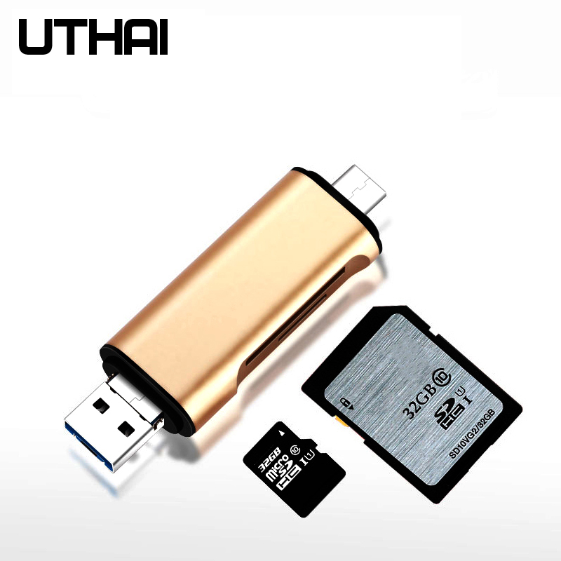 UTHAI C03 Type C & Micro USB & USB3.0 3 In 1 OTG Card Reader High-speed Universal TF/SD For Android Computer Extension Headers