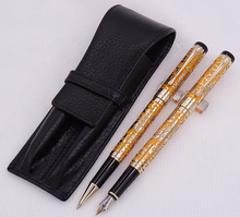 Jinhao 5000 Orange Golden Fountain Pen & Roller with Real Leather Pencil Case Bag Washed Cowhide Holder Writing Set