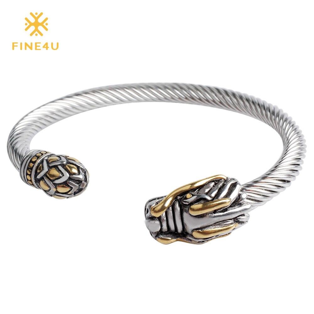 2018 New FINE4U B040 316L Stainless Steel Cuff Bracelet