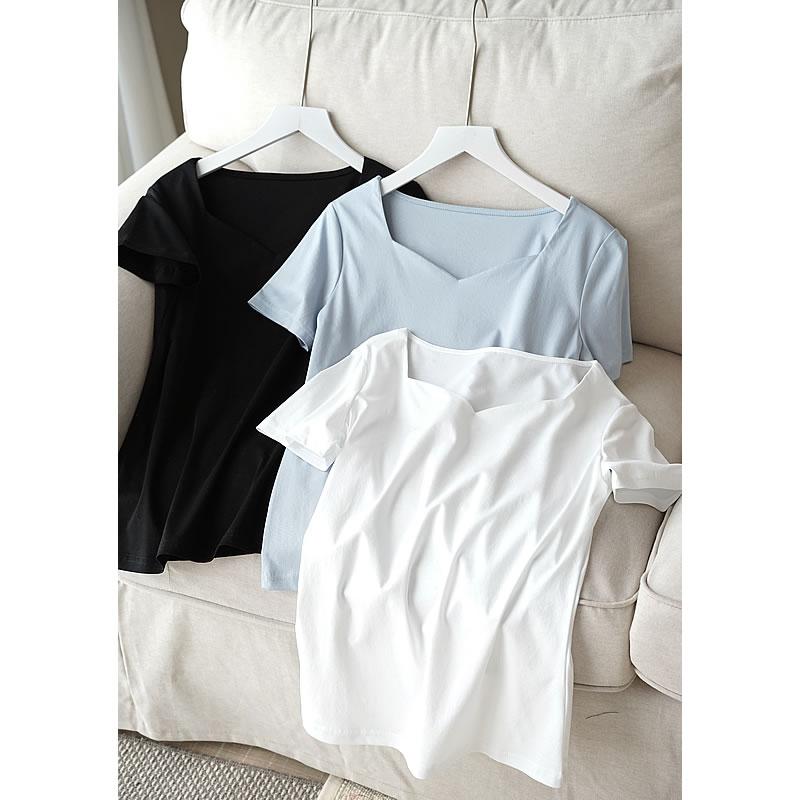 Наружная 80 ключицы хлопок, новый гладкой, нежной, высокое количество хлопка все одеты с короткими рукавами футболки, женский тонкий белая фу...