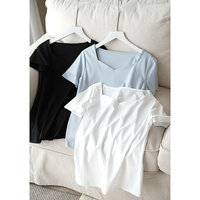 Exposed 80 Clavicle Cotton, New Smooth, Delicate, High Count Cotton All Dressed Short Sleeved T shirt, Female Thin White T