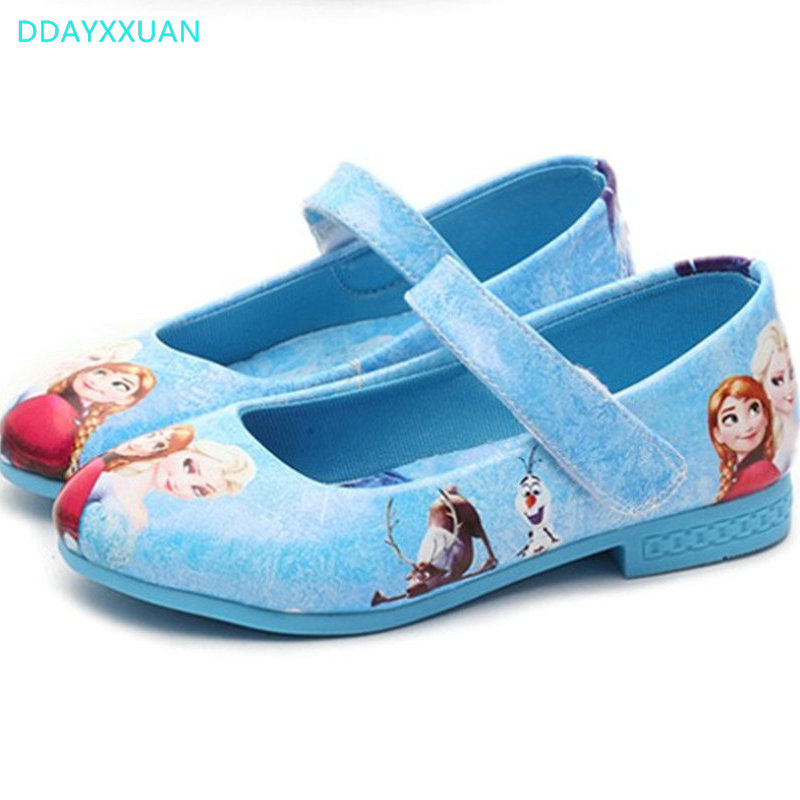 Girls Princess Shoes 2018 New Design Cartoon Printed Loafers Children Shoes PU Leather Kids Party Shoe Soft Soles EU 26~36