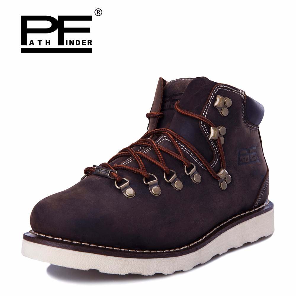 Pathfinder Tactical Waterproof Winter Warm Snow Boots Men Vintage Leather Motorcycle Ankle Martin High Cut Male Casual Clearance martin winter boots for men and men s winter snow boots warm cashmere waist leather shoes in winter thickening