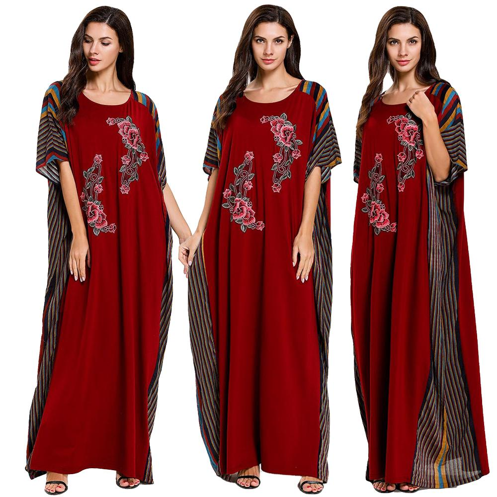 Dubai Short Sleeve Farasha Abaya Kaftan Women Floral Long Maxi Dress Muslim Jilbab Robe Caftan Loose Oversized Gown Cloth