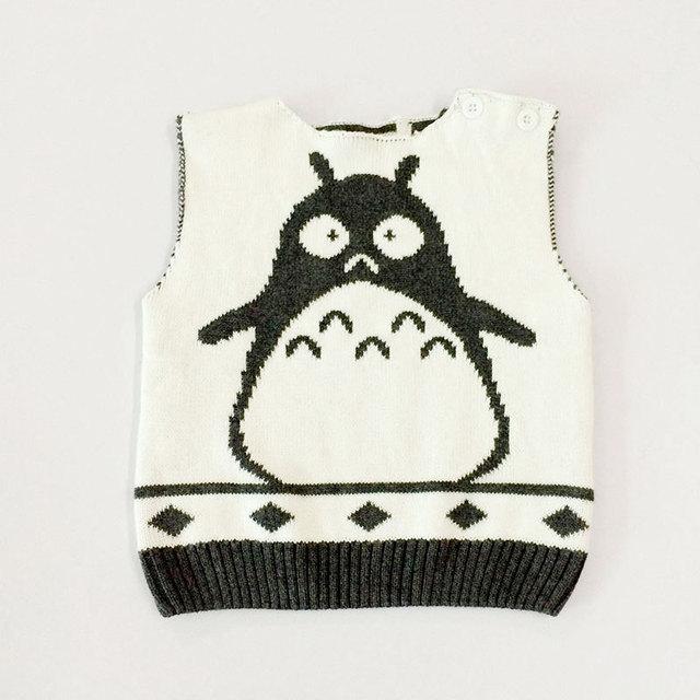 My Neighbor Totoro 1-5Y Baby Boy Sweater Vest Children sweatercoat Kids Knit Jacket Brand waistcoat Outwear Winter Coat Clothes