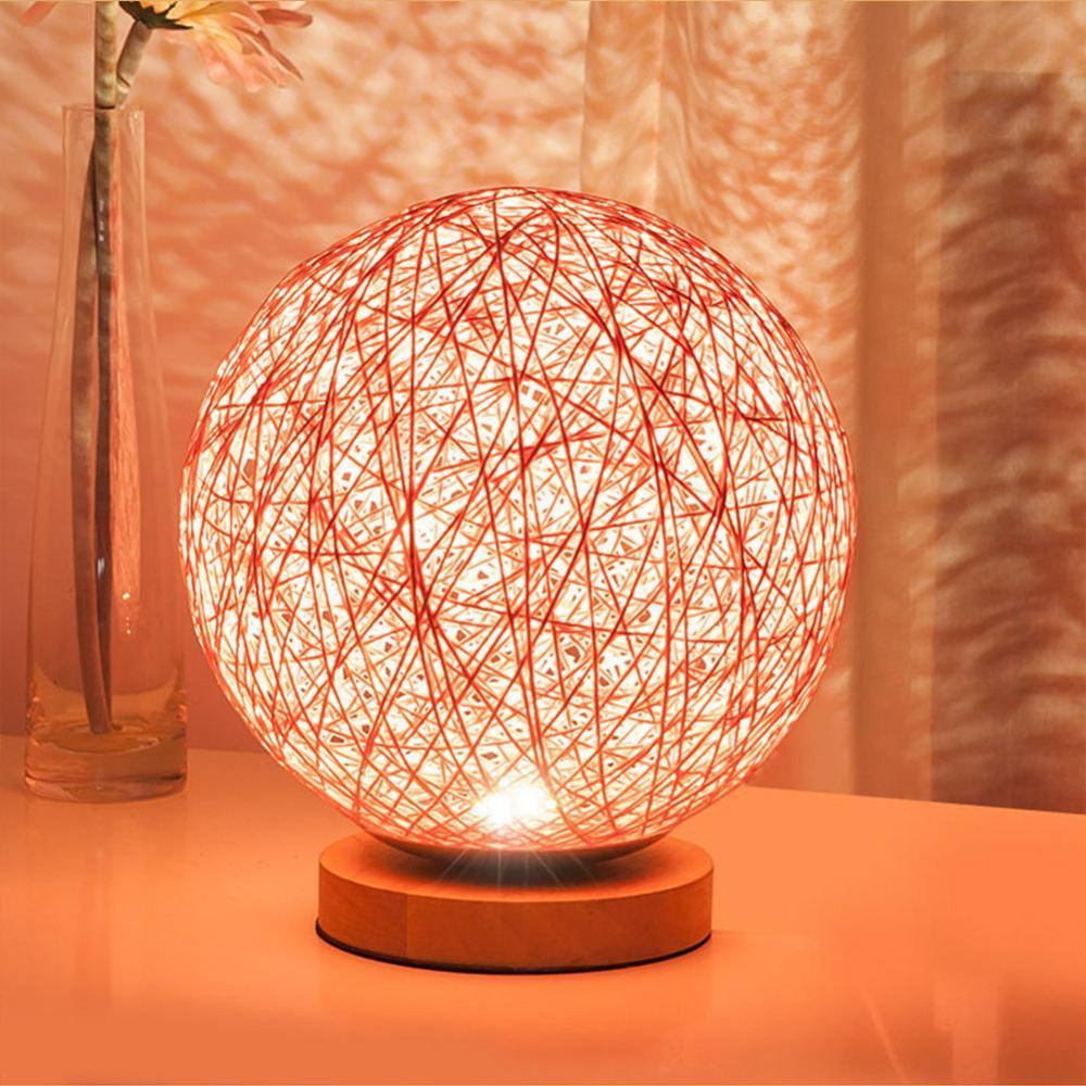Creative LED Night Light Rattan Colorful Wood Led night lamp For Kids Children Ball led Desk Table light For Bedroom Decoration free shipping remote control colorful modern minimalist led pyramid light of decoration led night lamp for christmas gifts