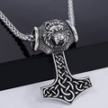 Davieslee Norse Knot Viking Lion Thor's Hammer Mens Boys 316L Stainless Steel Pendant Necklace DLHP50