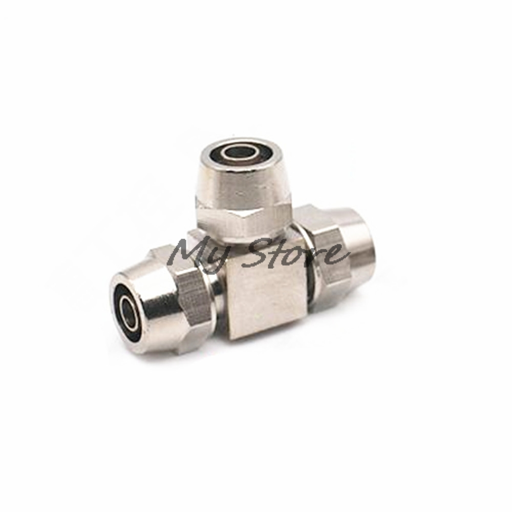 T type Pneumatic Connector Tube Air  Fitting PE4 6 8 10 12 quick Connect PU tube free shipping 10pcs lot pu 6 pneumatic fitting plastic pipe fitting pu6 pu8 pu4 pu10 pu12 push in quick joint connect