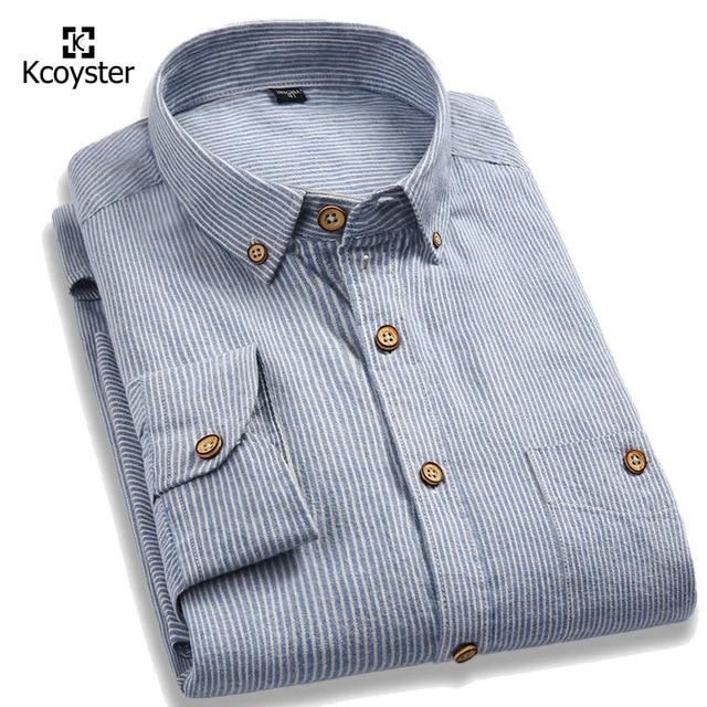 Kcoyster рубашки высокого качества мужчины бренд одежды полосатые рубашки мужчины с длинным рукавом мягкого хлопка рубашки весна повседневная camisas masculina