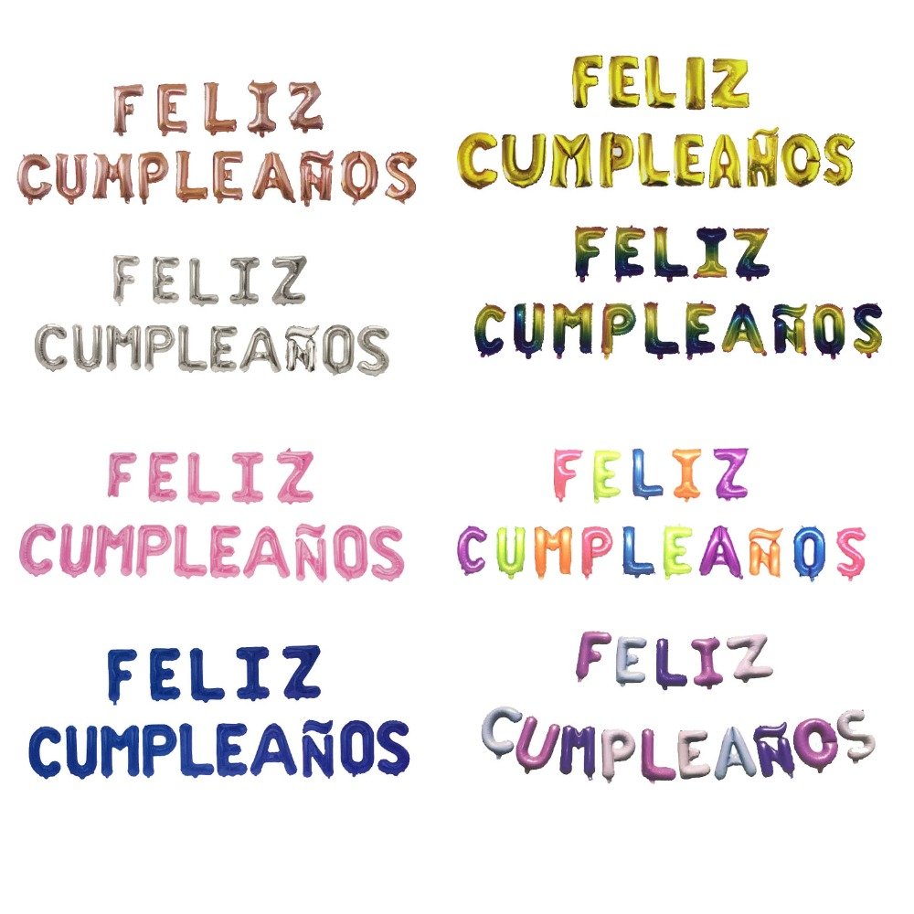16 inch happy <font><b>birthday</b></font> spanish decorations child girl aluminium foil helium balloons party alphabet letter 40 <font><b>18th</b></font> <font><b>birthday</b></font> 2 image