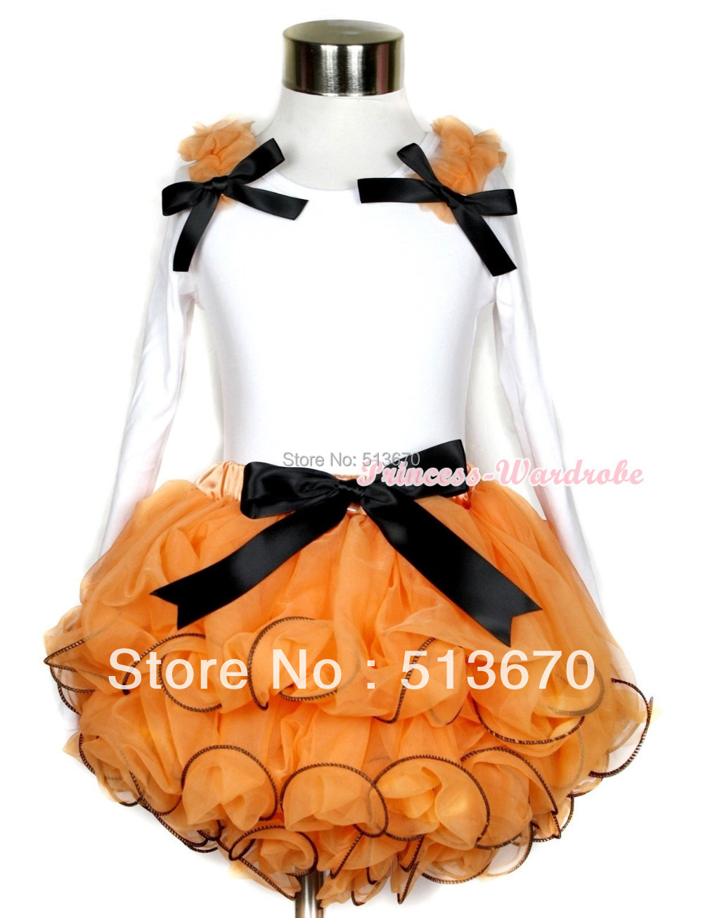 Halloween Orange Petal Pettiskirt with Matching White Long Sleeve Top with Orange Ruffles & Black Bow MAMW258