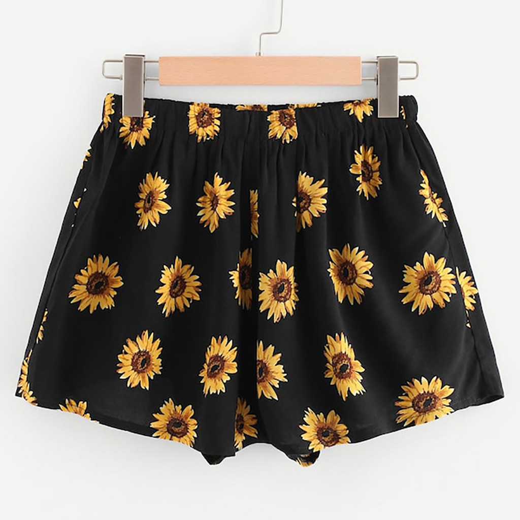 Sexy Shorts Sunflower-Print High-Waist Beach Casual Femme Women Feminino title=