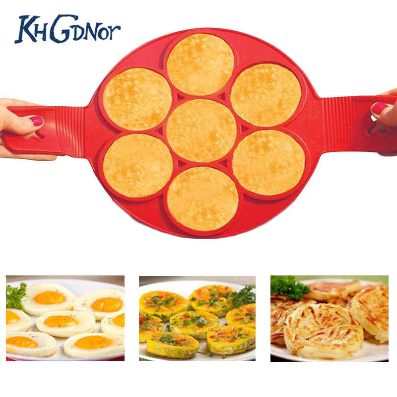 4//7//10 Holes Nonstick Pancake Muffin Making Mold Silicone Egg Mould Flipper Tool