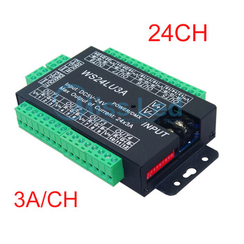 24CH Easy dmx512 decoder,LED dimmer Controller,DC5V-24V,24CH DMX decoder,each channel Max 3A,8 groups RGB controller,Iron shell