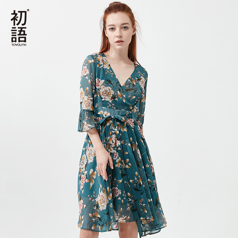 Toyouth Summer Floral Beach Dress Fashion V-Neck Bohemian Midi Dresses Women Flower Chiffon Dress Casual Half Sleeve Robe Femme overcoat