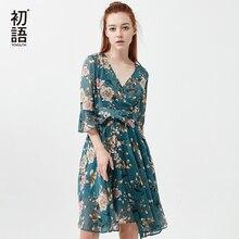 Toyouth Summer Floral Beach Dress Fashion V Neck Bohemian Midi Dresses Women Flower Chiffon Dress Casual
