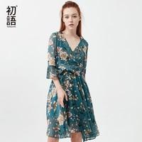Toyouth Summer Dress 2018 Flower Print Women Beach Dress Sexy V Neck Flare Sleeve Casual Chiffon