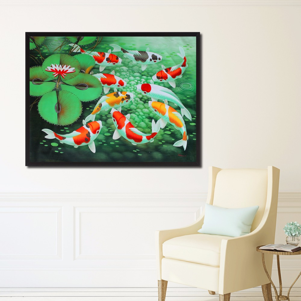 Carp In The Pool Watercolor Canvas Art Print Painting Poster Wall Pictures For Kids Room Home Decorative Bedroom Decor No Frame