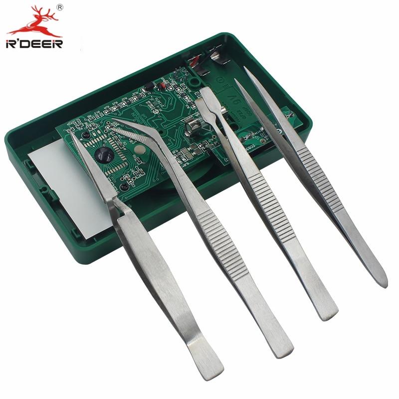 Pinzette per elettronica di precisione RDEER 4pz Pinze antiscivolo - Utensili manuali - Fotografia 5