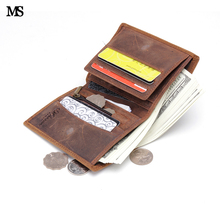 MS Men Crazy Horse Leather Casual Credit Card Case ID Cash Holder Wallet Organizer Zipper Coin Wallet Trifold Wallet K100-1