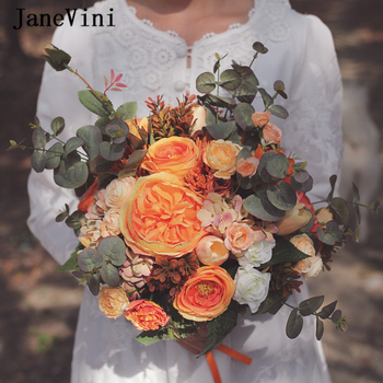 JaneVini Vintage Orange Silk Rose Bridemaid Bouquet Mariage Wedding Flowers Artificial Bridal Fake Bouquet Bloemen Bruiloft 2019