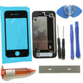 Black for iPhone 4 4G Front Outer Glass lens replacements Repair Kits Case Battery Door Rear Cover+UV Glue+Blade+Tools