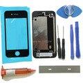 Frente outer lente de vidro preto para iphone 4 4g substituições reparar kits porta da bateria caso tampa traseira + uv cola + lâmina + ferramentas