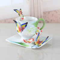 Butterfly Coffee Cup Colored enamel porcelain Mug with saucers and teaspoon of holiday Get married creative gift Free shipping