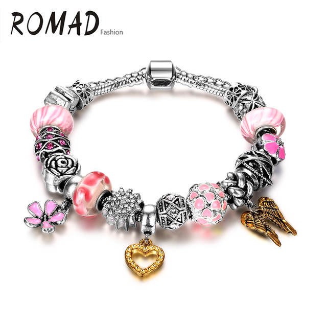 Romad Friendship Bracelet Silver Color Pink Heart Shaped Winter Charm Bracelets Bangle