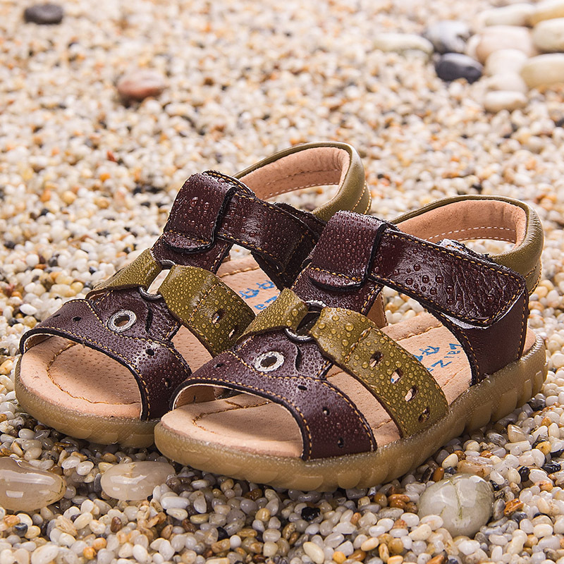 Children Boys Sandals 2017 Summer Genuine Leather Shoes Outdoor Sports Shoes Open Toe Kids Sandals For Boys Beach Shoes KS80