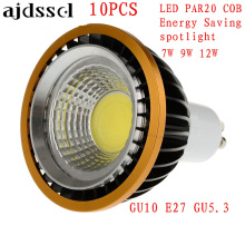 10X Spotlights LED spot COB PAR20 Bulb 220V110V dimmable GU10 E27 7W 9W 12W bulb P20  Lamps Warm/Pure/Cold White Spot light