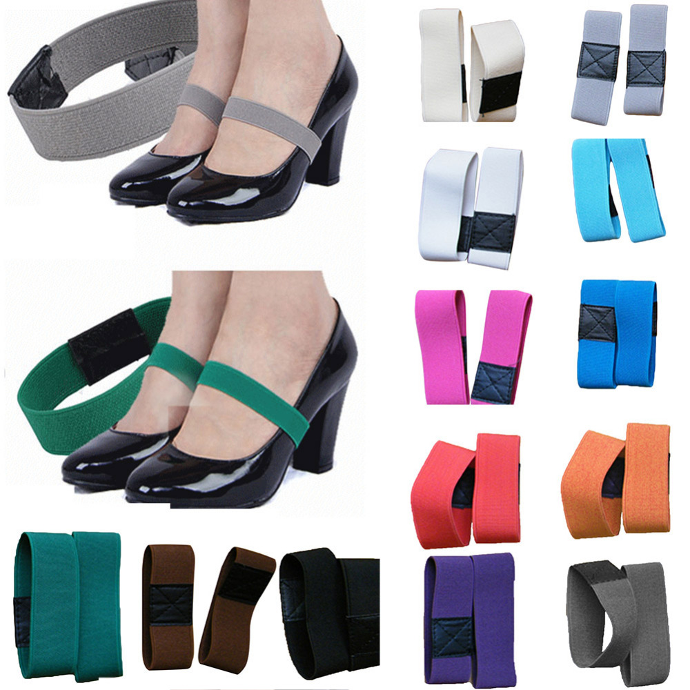 1 Pair Colored Elastic Band Shoelace Strap Solid Color Shoe Lace For Women High Heel Shoes Ladies Casual Wide Shoelace