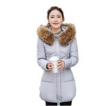 New Winter Down Cotton Parka Women Big Fur Collar Hooded Wadded Jacket Slim Thicken Warm Cotton