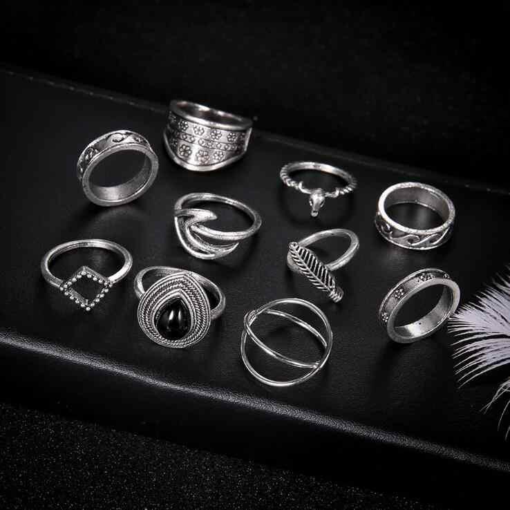1 bộ 10 cái Hot Thời Trang Màu Đen Opal Đá Knuckle Nhẫn Set cho Phụ Nữ Cổ Điển Midi Finger Nhẫn Nữ Đảng đồ trang sức Quà Tặng 2019 New
